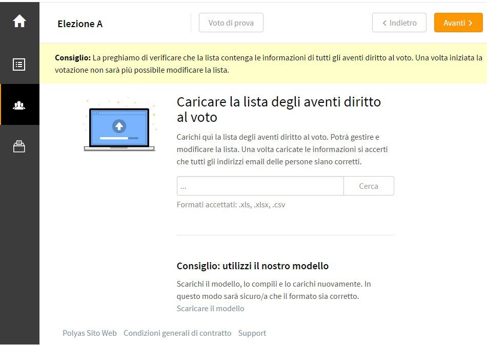 Caricare la lista elettori online