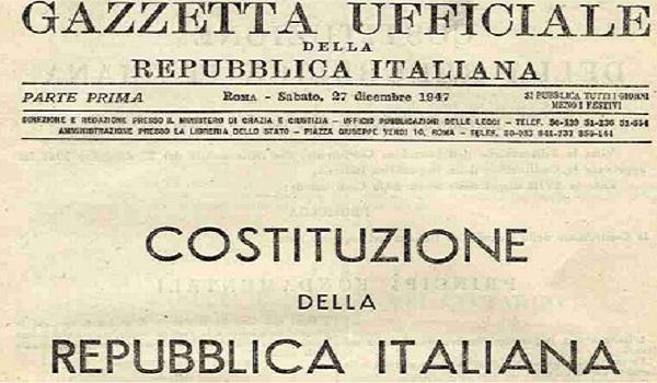 La costituzione italiana nella Gazzetta Ufficiale